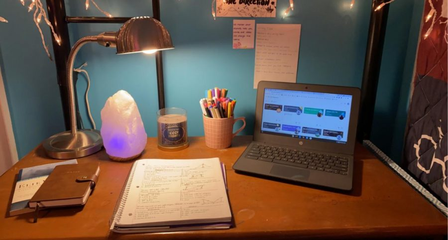 An organized study space. Photo courtesy: Julia Poffenberger, February 27th, 2021.