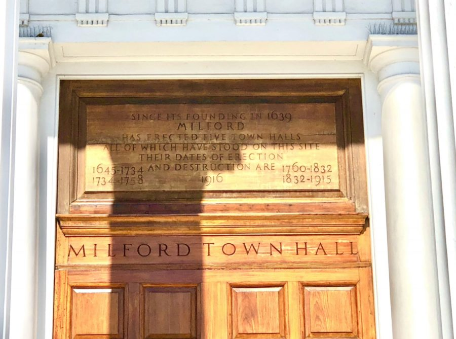 Milford Town Hall: The text on Milford's fifth town hall, built in 1916. Photo Courtesy: Sean Ayoub, March 10, 2021.