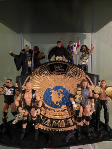 """Goldie"" : This collection is made up of figures and the belt based around the WWF championship that was dubbed ""Goldie"" by many wrestling fans. Photo Courtesy David Cogan. January 12, 2021."