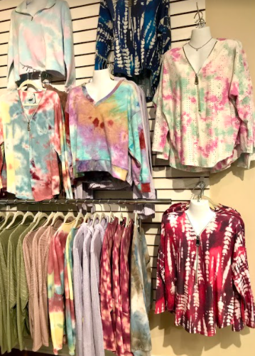 Trendy Tie-Dye: Pictured above is a bunch of Tie-Dye pieces in Material Girls in Orange, CT. Photo courtesy: Michelle Viesselman, February 23, 2020