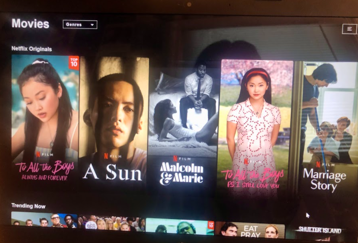 Netflix Showcases New Movies: Netflix's interface puts its new movies front and center.  Photo courtesy: Kathleen Chang, February 15, 2021.
