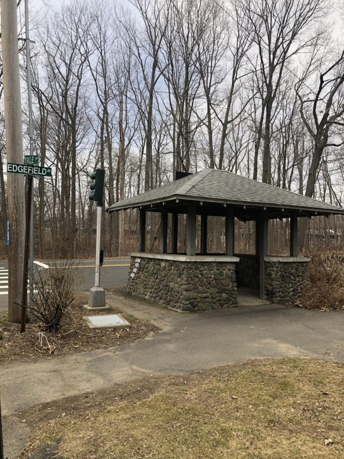 "Old Trolley Stop: This geocache is called ""Take Another Break"", located on Edgefield Ave. near Foran High School. Photo Courtesy: Jessica Chamberlain"