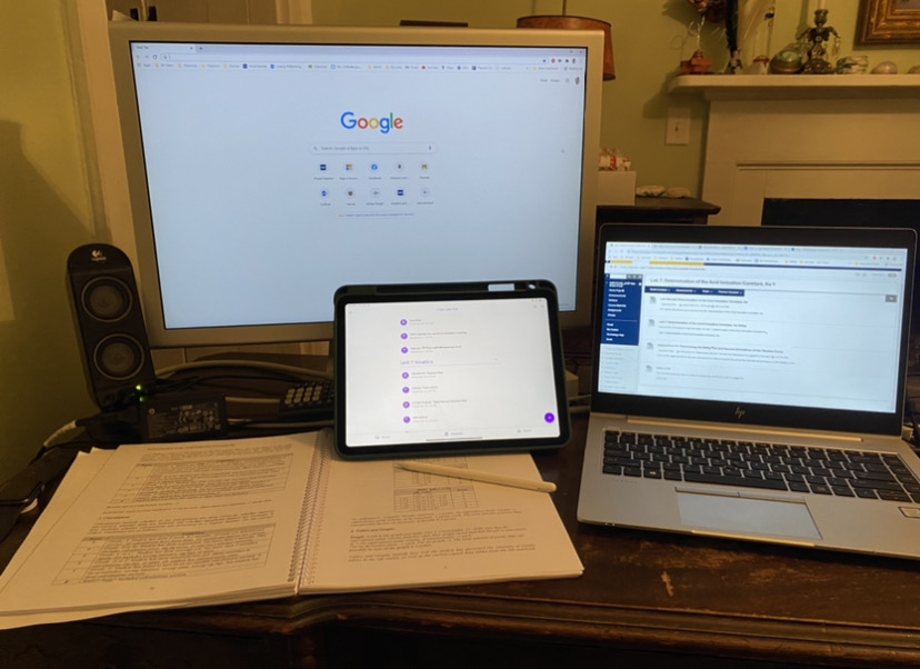 A Technological Study Space: A teacher showcases what her space looks like while grading papers.