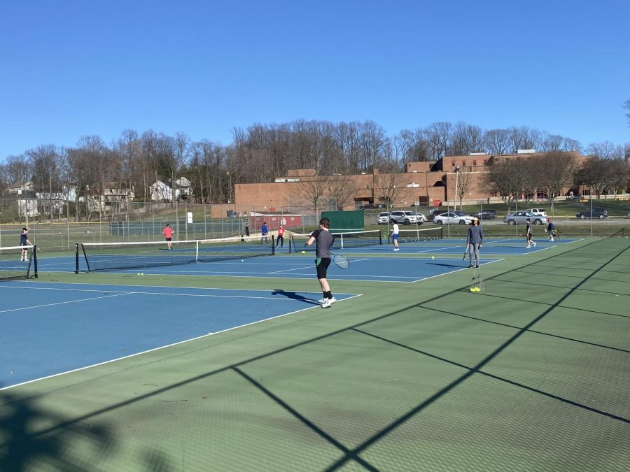 The Foran Tennis team back on the court, working hard during practice Photo courtesy: Kyle Zarnoch: March 26, 2021.