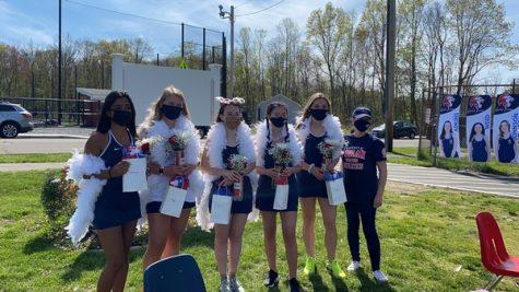 Girls tennis seniors celebrate on their senior night. Photo courtesy: Coach Missy Kaminski.