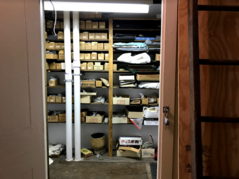 The storage closet in which a majority of the Claude C. Coffin collection is stored inside the Bryan-Downs house. Photo courtesy: Aidan Glass, May 8, 2021.