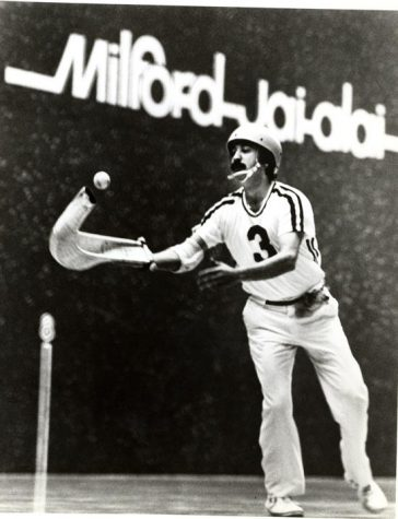 In the game: Former Jai Alai player Zabala plays at the Milford Court.