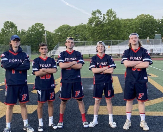 Senior Captians of the team after a winning game. Photo Courtesy: Boys' Lacrosse Twitter.