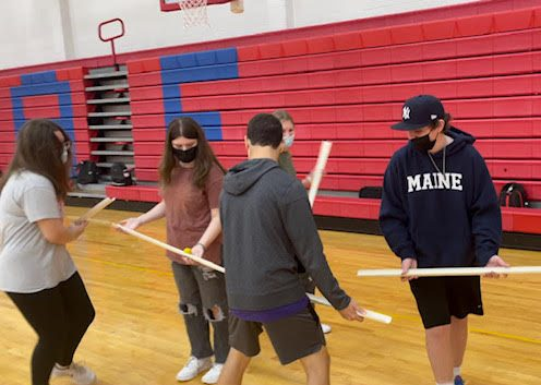 Athletes in Action: Students participate in team-building activities. Photo courtesy: Catherine GaNun, October 12, 2021.
