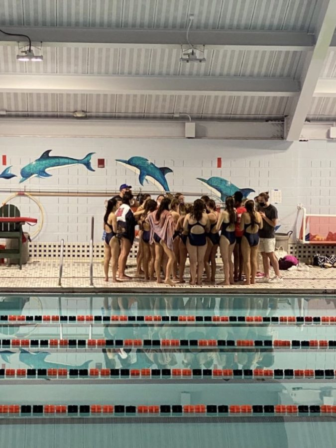 Post Victory: Team has a discussion after winning a meet. Photo courtesy: Mrs. Amy Fiorillo, September 30, 2021.