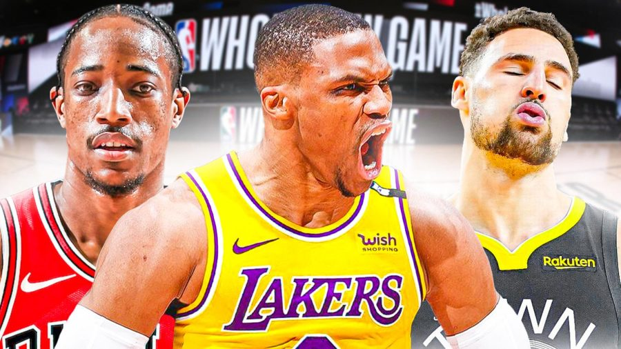 Faces of the 2021-2022 NBA Season: DeMar DeRozan, Russel Westbrook, and Klay Thompson in their 2021-2022 season jerseys.