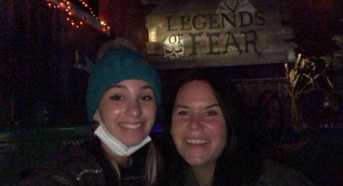 Legends of Fear: Emma Fiorillo poses with her mom at the Legends of Fear sign. Photo Courtesy: Emma Fiorillo, October 9, 2021.
