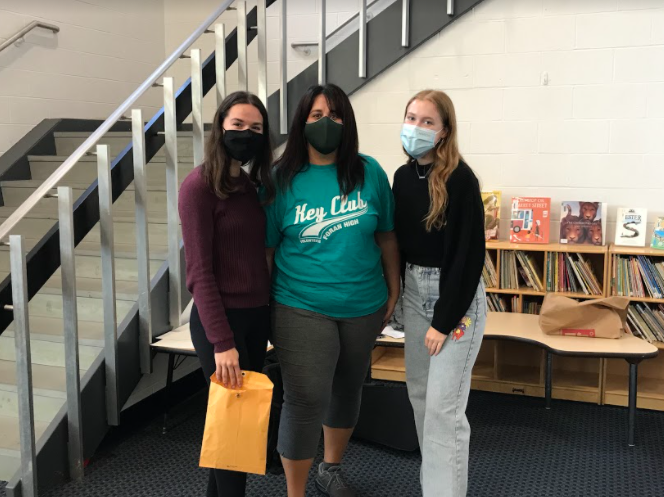 Key Club Officers: (From left to right) Arezoo Gazagh:  Vice President of the Key Club, Mrs. Ganun: Club Advisor, and Delaney Mayville: Media Specialist.